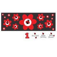 Stor prickig banderoll med blommor och nyckelpigor - kan skräddarsys efter eget önskemål - 1,5 m