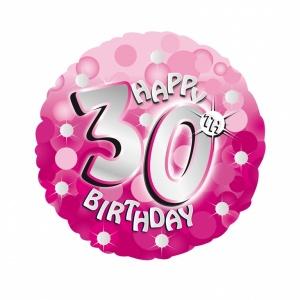 Rosa glittrig holografisk folieballong till 30-årsdagen - 46 cm