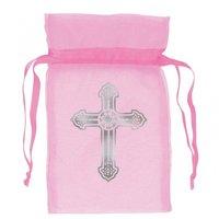 Rosa organzapåsar med silvrigt kors - 12 st