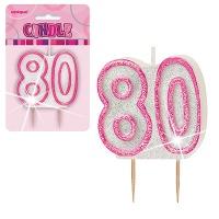 Rosa tårtljus till 80-årsdagen