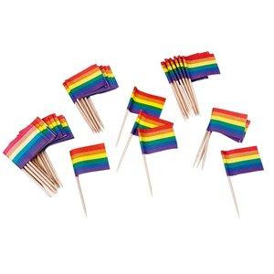 Regnbågs cocktailflaggor 50-pack