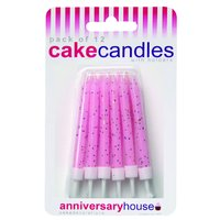 Glittrande Tårtljus - rosa - 12 st