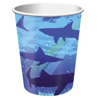 Pappersmuggar Blå haj 256ml - 8 st