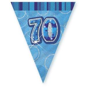 70-års födelsedag blå vimpelbanderoll - plast - 3,65m