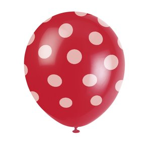 Röda latexballonger med prickar - 30 cm 6 st