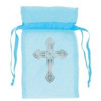 Ljusblå organzapåsar med silvrigt kors - 12 st