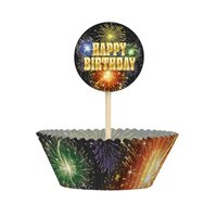 Cupcake kit - Happy birthday fyrverkerier 24 st