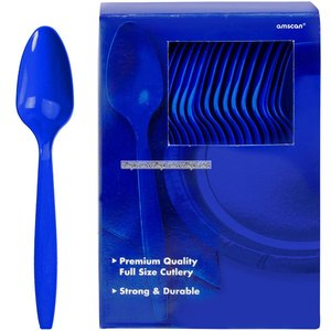 Mörkblå plastskedar - 100 st