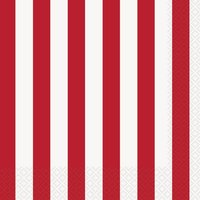 Randiga servetter - Röda &vita 16 st