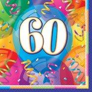 60-års servetter med ballonger 16 st