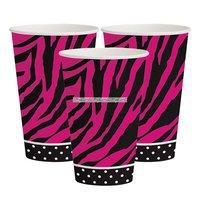 Pappersmuggar zebramönstrade rosa 355ml - 8 st