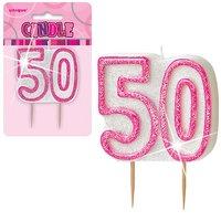 50-års födelsedagsljus - rosa