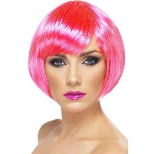Kort page neonrosa peruk