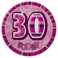 Rosa 30-års födelsedagsknapp 15 cm