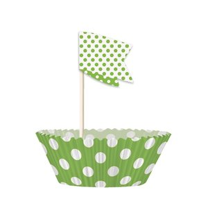 Cupcake kit - Grönprickiga 24 st