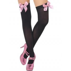 Lårhöga strumpor svart med rosa rosett