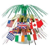 Liten kaskad bordsdekoration - internationella flaggor