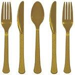Guldfärgat plastbestickset - kalaspaket - 24 delar - 24 st