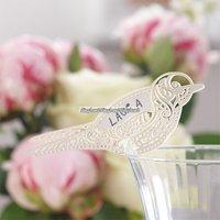 Placeringskort för glas Elfenbensvit fågel - 10 st