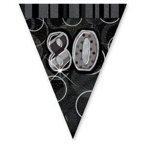 80-års födelsedag svart vimpelbanderoll - plast - 3,65m