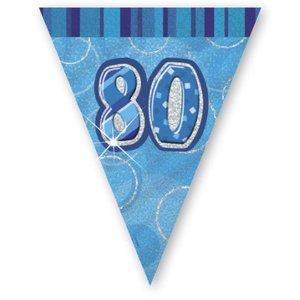80-års födelsedag blå vimpelbanderoll - plast - 3,65m