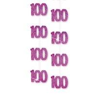 100-års födelsedag rosa hängande dekorationer - 4,9 ft festdekorationer - 6 st
