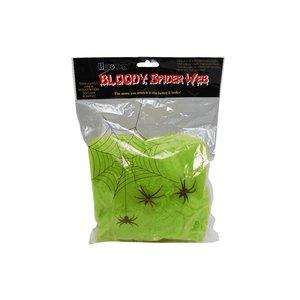 Grönt spindelnät med spindlar