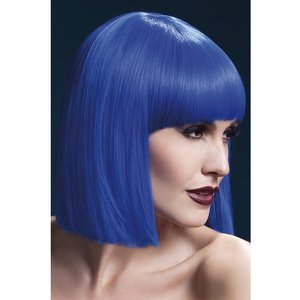 Lola peruk, kort rak lugg - blå