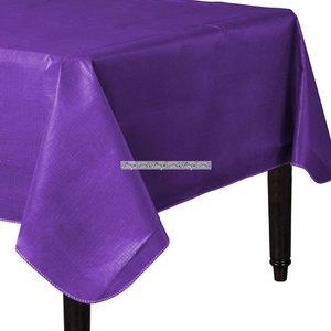 Lila bordsduk i vinyl med baksida av flanell - 132cm x 228cm
