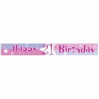 21-års rosa happy birthday banderoll - 3.65m