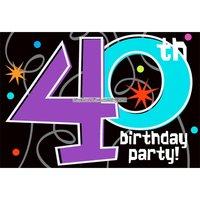 Inbjudningskort 40-årsfest - The party continues - 8 st