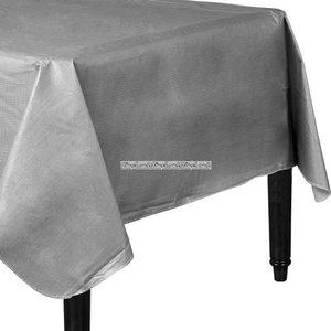 Silver bordsduk i vinyl med baksida av flanell - 132cm x 228cm