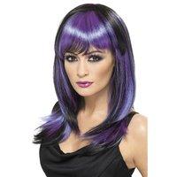 Glamour häxa peruk - svart och lila