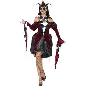 Gotisk venetiansk Harlequin kvinna maskeraddräkt
