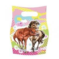 Charmerande hästar partypåsar i plast - 6 st