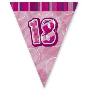 18-års födelsedag rosa vimpelbanderoll - plast 3,65m