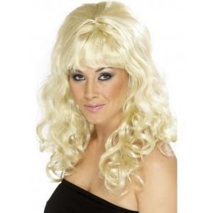 Peruk vågiga lockar med lugg - blond
