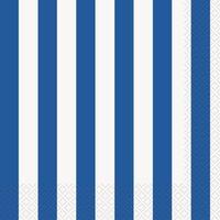 Randiga servetter - Blå & vita 16 st