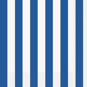Randiga servetter - Blå &amp  vita 16 st