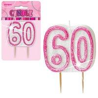 60-års födelsedagsljus - rosa