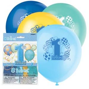1-års födelsedagsballonger - blå med tryck - 30 cm latex - 8 st