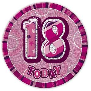 Födelsesdagsknapp för 18-årsdagen rosa - 15 cm