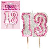 Födelsedagsljus för 13-årsdagen - rosa