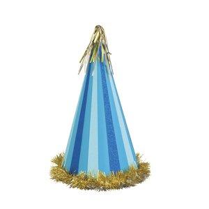 Jumbo partyhatt - Blå med glitter