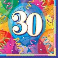 30-års servetter med ballonger 16 st