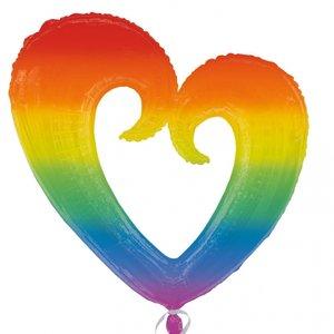 Folieballong - Rainbow Open Heart 76 cm