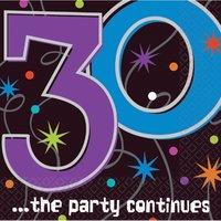 Pappersservetter till 30-årsdagen - The party continues 2-lagers - 16 st