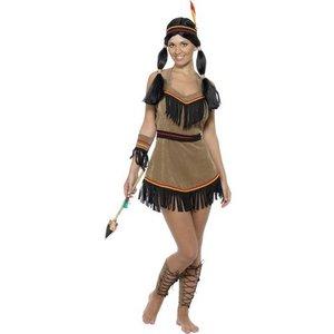 Indiankvinna klänning, kort - maskeraddräkt