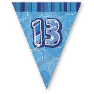 13-års födelsedag blå vimpelbanderoll - plast