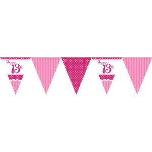 Vimpelbanderoll för 13-årsdagen rosa - 3,7m